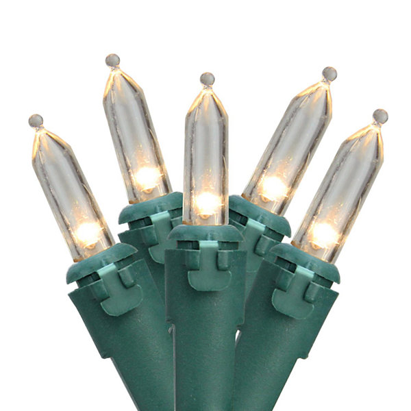 Set of 50 Warm White LED Mini Christmas Lights - Green Wire