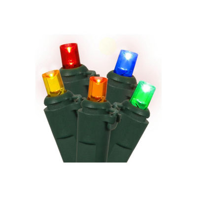 Set of 60 Multi-Color LED Wide Angle Twinkling Christmas Lights - Green Wire