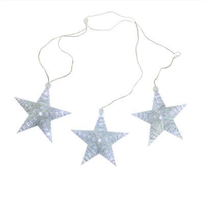 """Set of 3 Cascading White Snowfall LED Star Christmas Lights 6.5"""""""