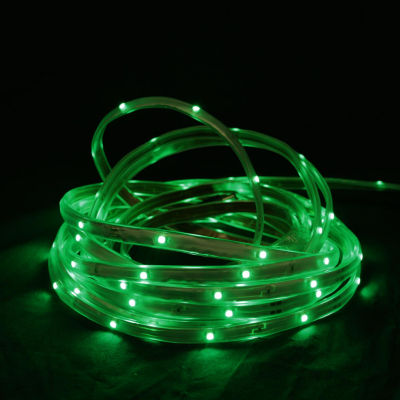 18' Green LED Indoor/Outdoor Christmas Linear TapeLighting - White Finish