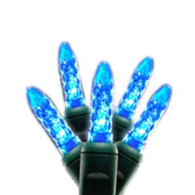 Set of 35 LED Blue M5 Mini Christmas Lights - Green Wire