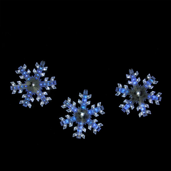 Set of 3 Cascading White and Blue Snowfall LED Snowflake Christmas Lights 6.5""