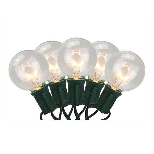 Set of 20 Warm White G40 Globe Christmas Lights -Green Wire