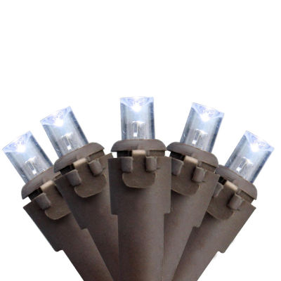 Set of 60 Cool White LED Wide Angle Christmas Lights - Brown Wire