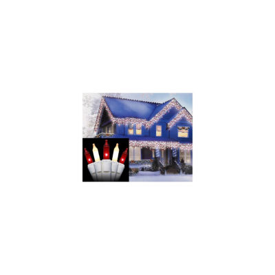 """Set of 300 Red and Frosted Clear Icicle ChristmasLights 2"""" Spacing - White Wire"""""""