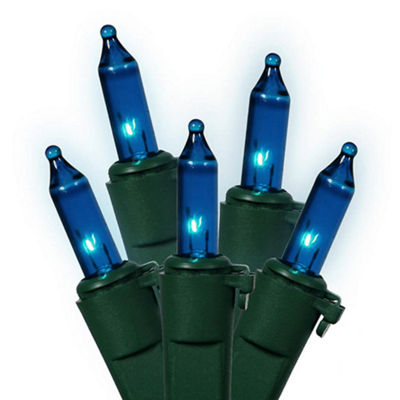 "Set of 50 Blue Mini Christmas Lights 5.5"" Bulb Spacing 22 AWG - Green Wire"