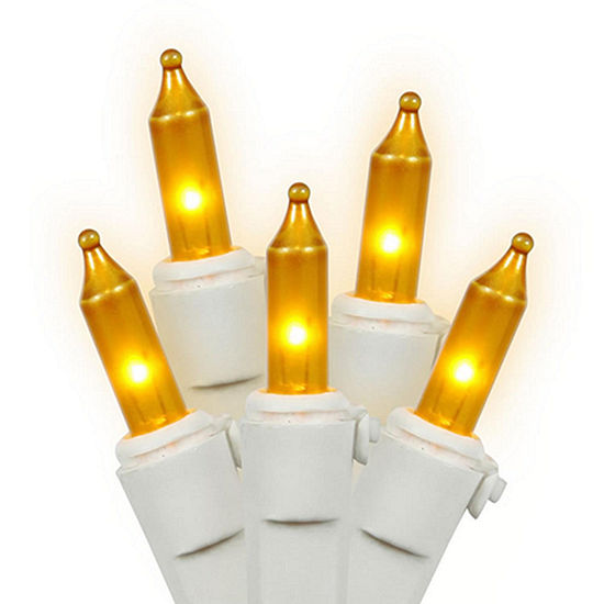 set of 50 opaque gold mini christmas lights white wire