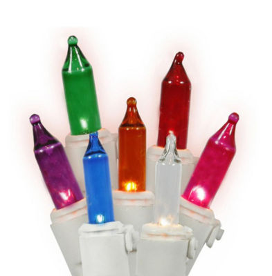 Set of 50 Multi-Color LED Mini Christmas Lights -White Wire