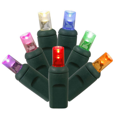 """Set of 50 Multi-Color Commercial Grade LED Wide Angle Christmas Lights 6"""" Spacing - Green Wire"""""""
