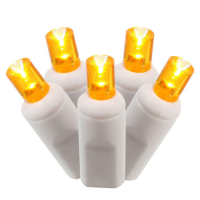 Set of 50 Orange Commercial Grade LED Wide Angle Christmas Lights - White Wire