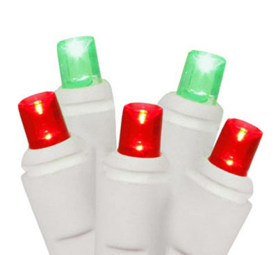 Set of 50 Red and Green Commercial Grade LED WideAngle Christmas Lights - White Wire