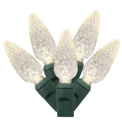 Set of 50 Warm White Commercial Grade LED C6 Christmas Lights - Green Wire