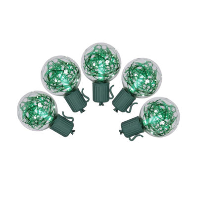 Set of 25 Green LED G40 Tinsel Christmas Lights -Green Wire