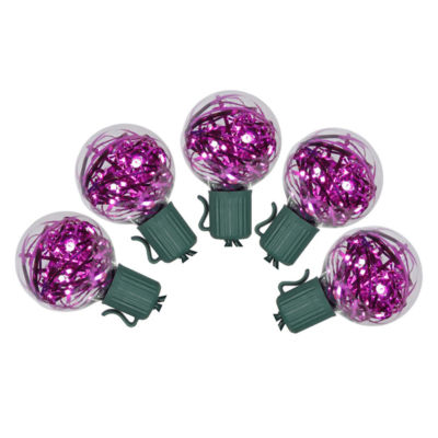 Set of 25 Pink LED G40 Tinsel Christmas Lights - Green Wire
