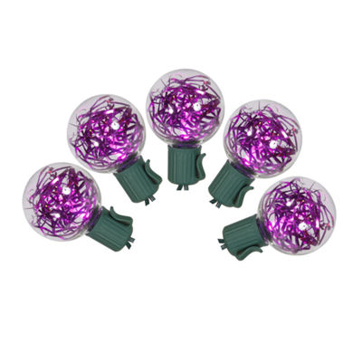 Set of 25 Purple LED G40 Tinsel Christmas Lights -Green Wire
