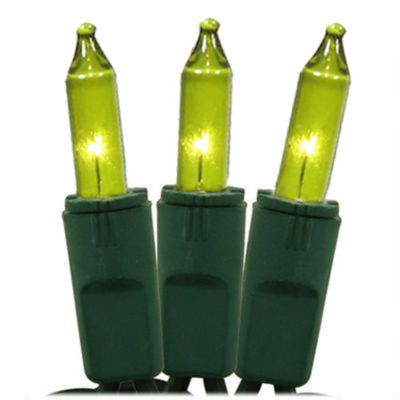 Set of 50 Chartreuse Green Perm-O-Snap Mini Christmas Lights - Green Wire