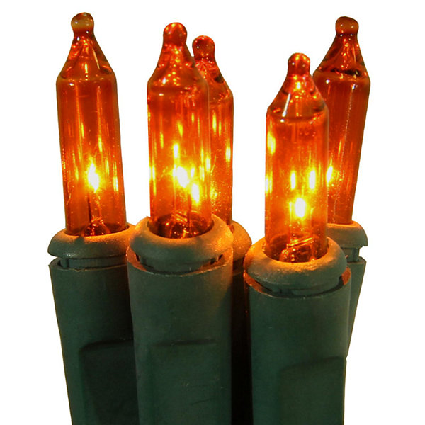 Set of 50 Orange Perm-O-Snap Mini Christmas Lights- Green Wire