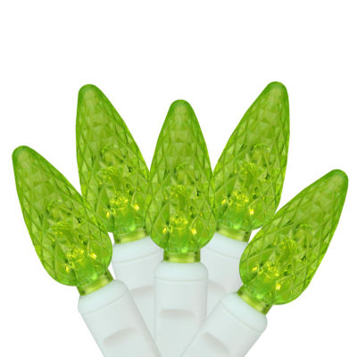 """Set of 100 Lime Green LED C6 Christmas Lights 4"""" Spacing - White Wire"""""""