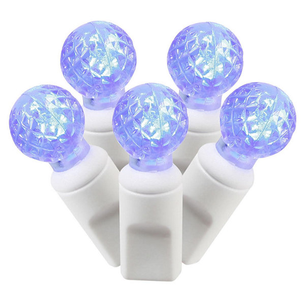 "Set of 100 Blue Commercial Grade LED G12 Berry Christmas Lights 4"" Spacing - White Wire"