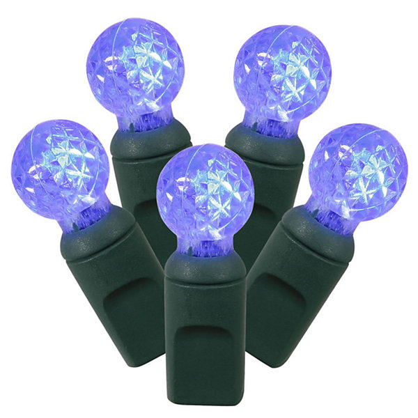 "Set of 100 Blue LED G12 Berry Christmas Lights 4""Spacing - Green Wire"""