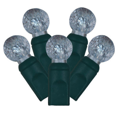 "Set of 100 Cool White LED Faceted G12 Berry Christmas Lights 4"" Spacing - Green Wire"""