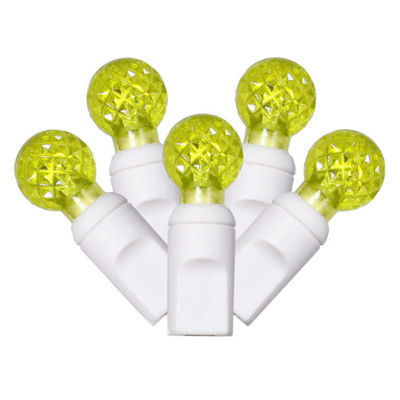 "Set of 100 Lime Green Commercial Grade LED G12 Berry Christmas Lights 4"" Spacing - White Wire"""