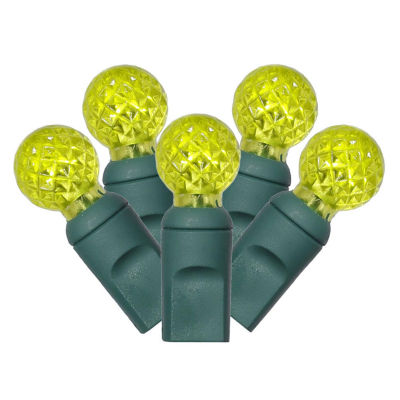 """Set of 100 Lime Green LED Faceted G12 Berry Christmas Lights 4"""" Spacing - Green Wire"""""""