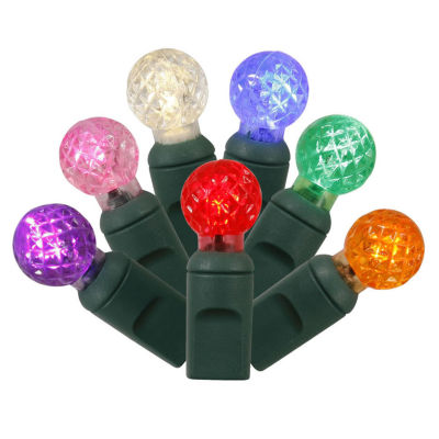 """Set of 100 Multi-Colored LED G12 Berry Christmas Lights 4"""" Spacing - Green Wire"""""""