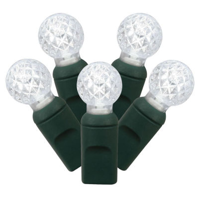 """Set of 100 Pure White LED G12 Berry Christmas Lights 4"""" Spacing - Green Wire"""""""