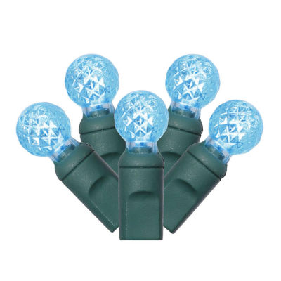 """Set of 100 Teal Blue LED Faceted G12 Berry Christmas Lights 4"""" Spacing - Green Wire"""""""