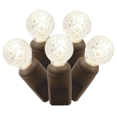 "Set of 100 Warm White Commercial Grade LED G12 Berry Christmas Lights 4"" Spacing - Brown Wire"""