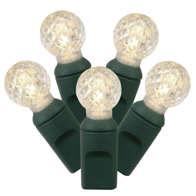 "Set of 100 Warm White LED G12 Berry Christmas Lights 4"" Spacing - Green Wire"""