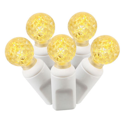 "Set of 100 Yellow Commercial Grade LED G12 Berry Christmas Lights 4"" Spacing - White Wire"""
