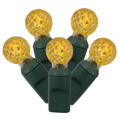 """Set of 100 Yellow LED G12 Berry Christmas Lights 4"""" Spacing - Green Wire"""""""