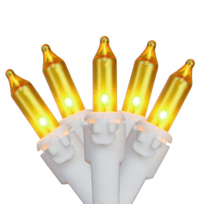 """Set of 100 Opaque Gold Mini Christmas Lights 4.25""""Spacing - White Wire"""""""