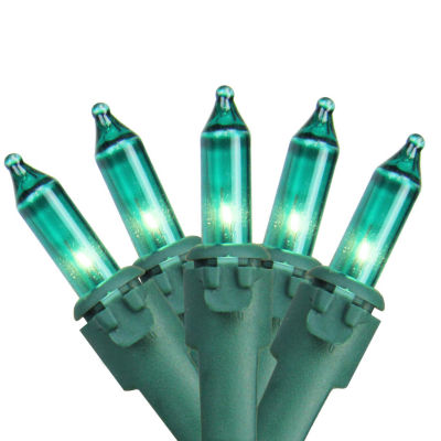 """Set of 100 Teal Green Mini Christmas Lights 4.25""""Spacing - Green Wire"""""""