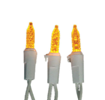 Set of 70 LED Amber M5 Mini Christmas Lights - White Wire