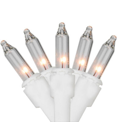Set of 150 Heavy-Duty Commercial Grade Clear Mini Lights - White Wire Connect 7