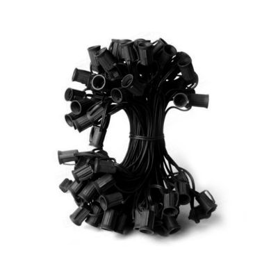 "50' Commercial C7 Christmas Light Socket Set - 12""Spacing 18 Gauge Black Wire"""