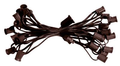 "50' Commercial C9 Christmas Light Socket Set - 12""Spacing 18 Gauge Brown Wire"""