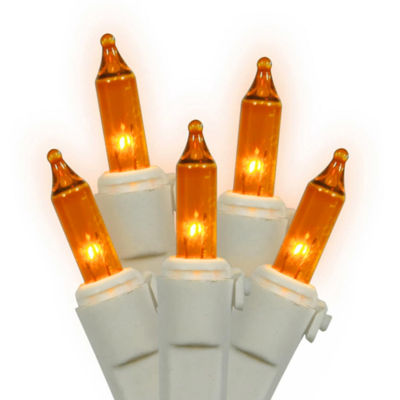 Set of 150 Heavy-Duty Amber Mini Christmas Lights- White Wire Connect 6