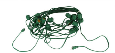 "100' Commercial E26 Green Wire Socket Set - 24"" Spacing"""