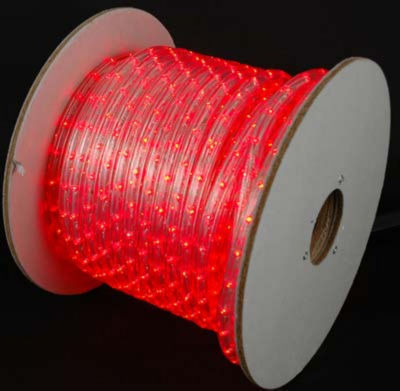 150' Commericial Grade Red LED Indoor/Outdoor Christmas Rope Lights on a Spool