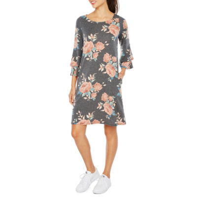 Alyx 3/4 Bell Sleeve Floral Shift Dress