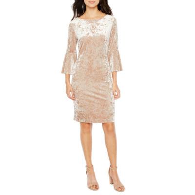 Ronni Nicole 3/4 Bell Sleeve Velvet Shift Dress
