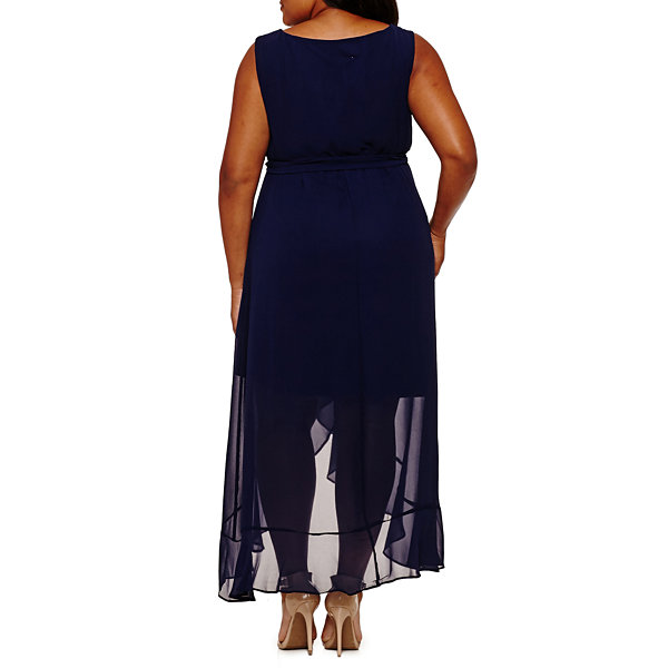 Melrose Sleeveless Belted Evening Gown-Plus