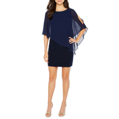 DJ Jaz 3/4 Sleeve Cape Bodycon Dress