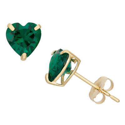 Lab Created Green Emerald 10K Gold 6.1mm Stud Earrings