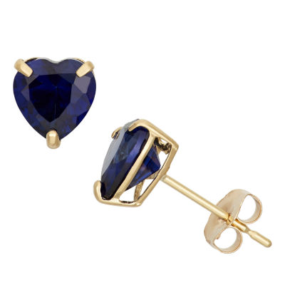 Heart Blue Sapphire 10K Gold Stud Earrings
