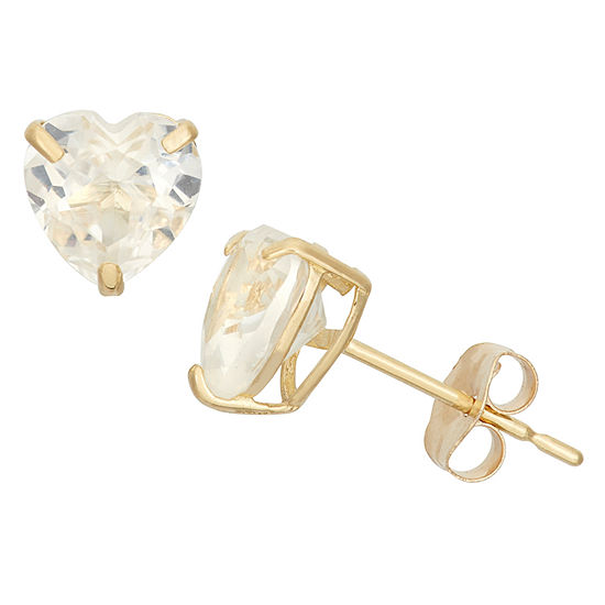 Lab Created White Sapphire 10K Gold 6.1mm Stud Earrings